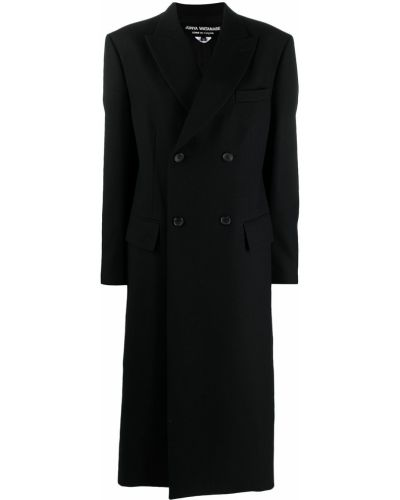 Шерстяное черное пальто классическое двубортное Junya Watanabe