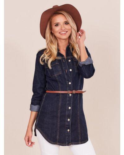 Niebieska tunika bawełniana z paskiem Fashionhunters