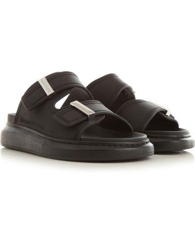 Czarne sandały srebrne Alexander Mcqueen
