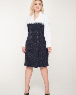Платье с поясом в полоску на пуговицах тм леди агата