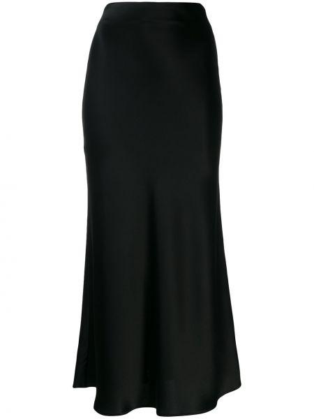 Satynowa czarna spódnica z wysokim stanem Galvan