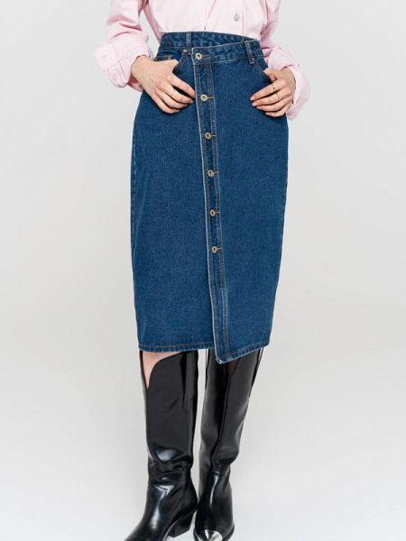 Джинсовая юбка синяя свободного кроя Befree