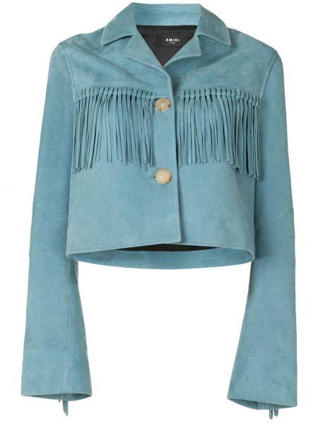 Синяя длинная куртка с бахромой с воротником из вискозы Amiri