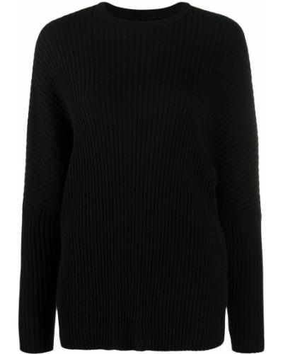 Кашемировый черный джемпер в рубчик с вырезом Oyuna