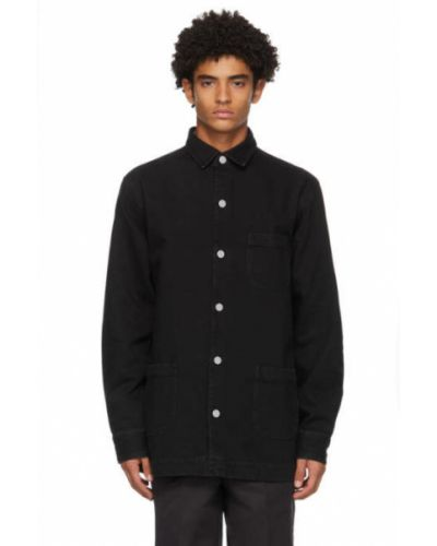 Черная джинсовая рубашка с воротником с заплатками с карманами Schnaydermans