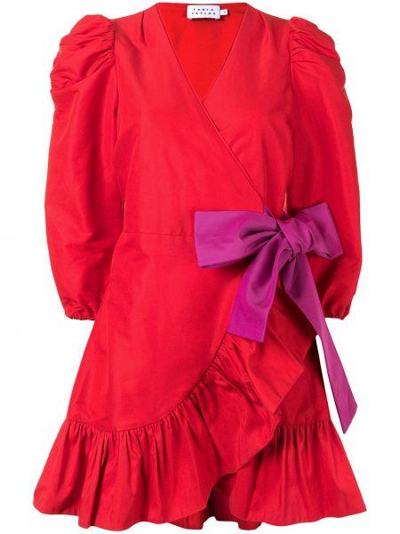 С рукавами красное платье мини с бантом Tanya Taylor