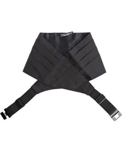 Черный шелковый ремень широкий Dolce & Gabbana