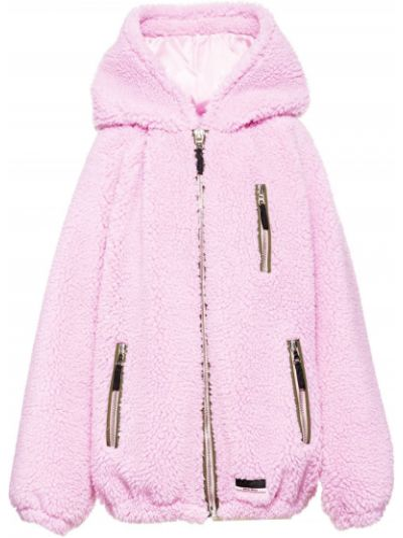 Классическая розовая нейлоновая свободная куртка с капюшоном Miu Miu