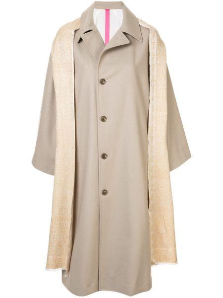 Шерстяное бежевое пальто классическое с капюшоном Y's