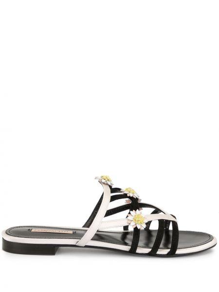 С ремешком открытые черные сандалии с открытым носком Fabrizio Viti