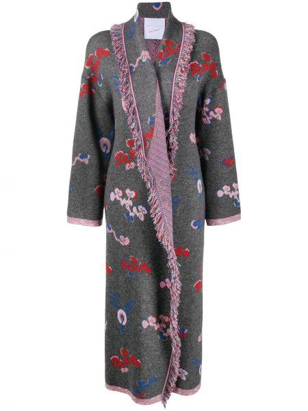 Серое кашемировое длинное пальто с лацканами Giada Benincasa