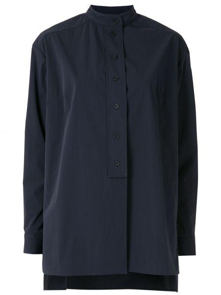 Синяя с рукавами рубашка с воротником-стойка Egrey