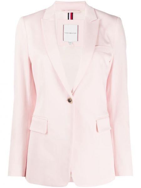 Однобортный розовый удлиненный пиджак с карманами Tommy Hilfiger