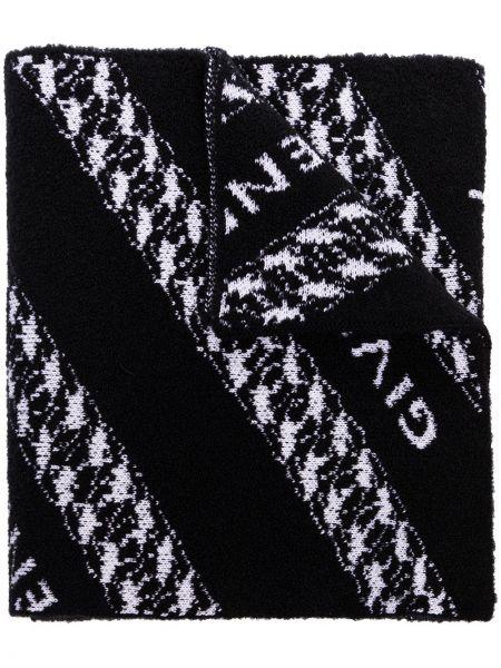 Czarny szalik wełniany z printem Givenchy