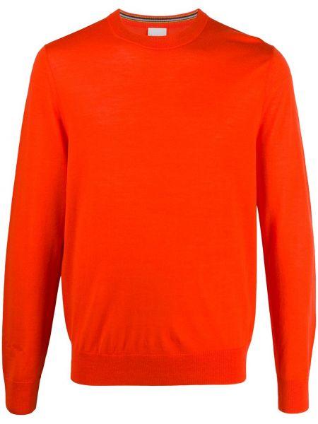 Z merynosa pomarańczowy pulower z haftem z długimi rękawami Paul Smith