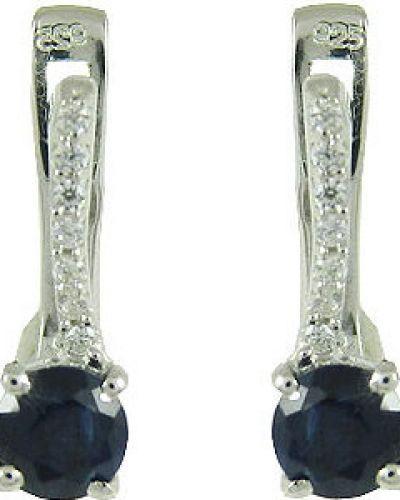 Серебряные серьги c сапфиром Evora