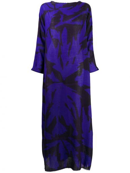 Шерстяное синее платье с вырезом круглое Daniela Gregis