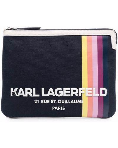 Kopertówka skórzana - niebieska Karl Lagerfeld