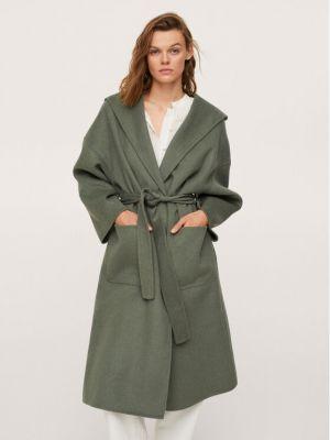 Płaszcz wełniany - zielony Mango