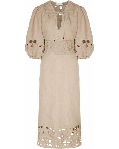 Платье миди с поясом на резинке Zimmermann