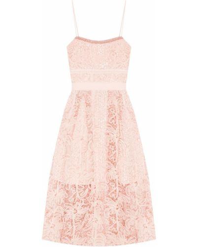 Коктейльное платье розовое на тонких бретелях Self-portrait