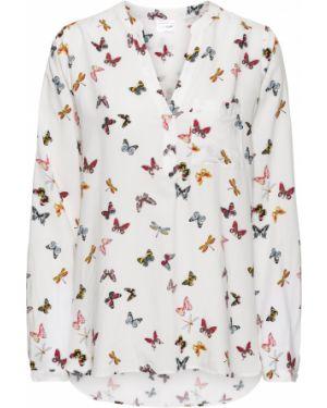 Блузка с длинным рукавом с V-образным вырезом белая Bonprix