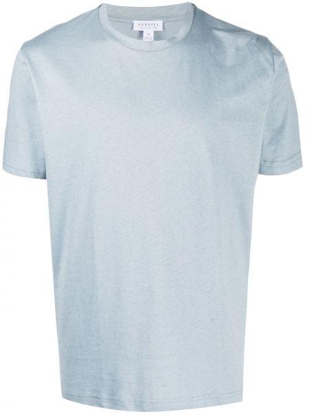 Прямая хлопковая синяя футболка с круглым вырезом Sunspel