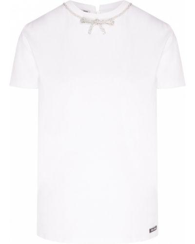 Хлопковая белая футболка с бантом с круглым вырезом Miu Miu