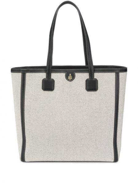 Хлопковая сумка-тоут на молнии с декоративной отделкой с карманами Mark Cross
