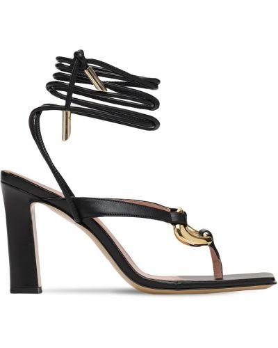 Кожаные стринги - черные Gia Couture