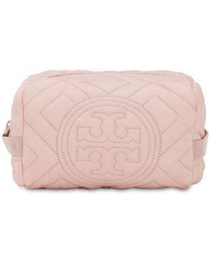 Różowa kosmetyczka z nylonu pikowana Tory Burch