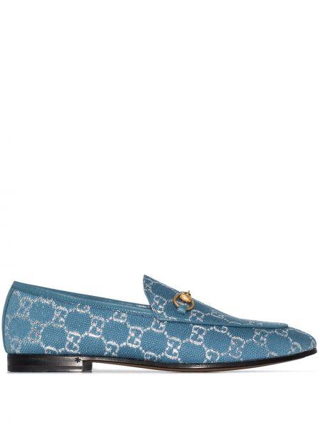 Skórzany niebieski loafers na pięcie prążkowany Gucci