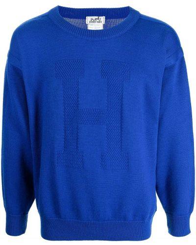 Синий джемпер с вырезом Hermès