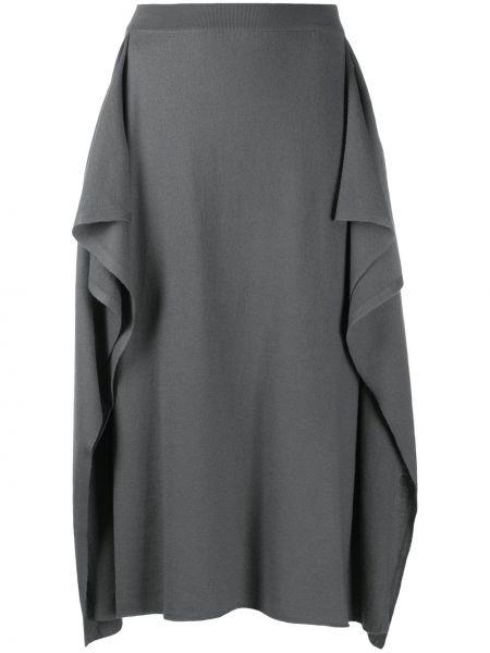 С завышенной талией серая юбка с разрезом Stella Mccartney