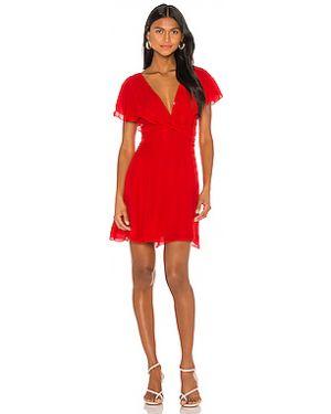 Красное платье на молнии с оборками с подкладкой Parker