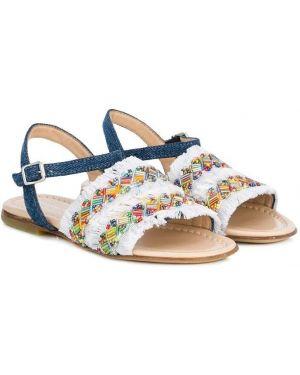 Кожаные открытые с ремешком кожаные босоножки с открытым носком Ermanno Scervino Junior
