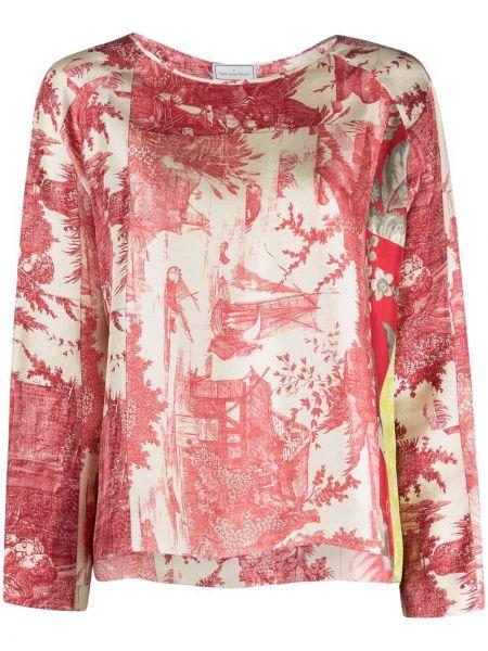 Розовая прямая футболка с вырезом Pierre-louis Mascia
