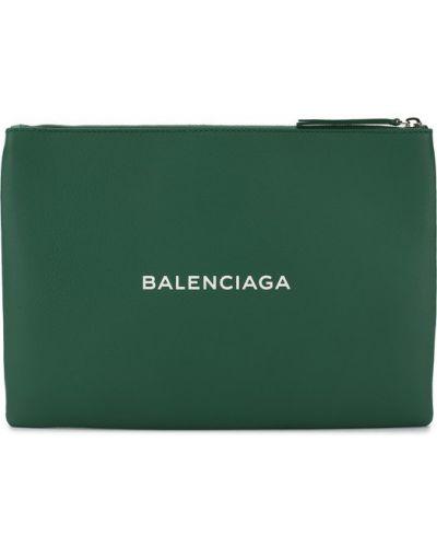 Зеленый клатч кожаный Balenciaga