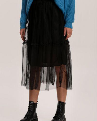 Ciepła czarna spódnica materiałowa Renee