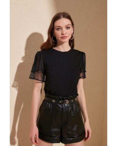 Czarna bluzka bawełniana Trendyol