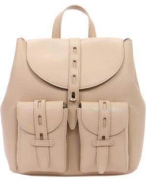 Кожаный рюкзак бежевый из плотной ткани Furla