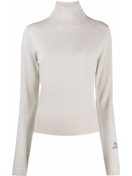 Бежевый шерстяной вязаный свитер с длинными рукавами Courrèges