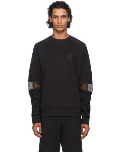 Bawełna czarny bluza z kołnierzem z mankietami Fendi