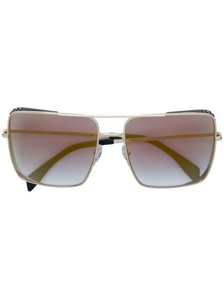 Прямые желтые солнцезащитные очки квадратные металлические Moschino Eyewear