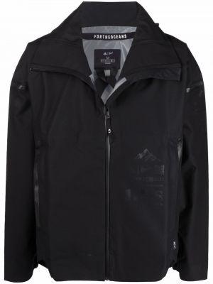 Ватная черная длинная куртка с капюшоном Adidas