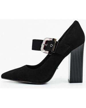 Туфли на каблуке черные велюровые Vitacci