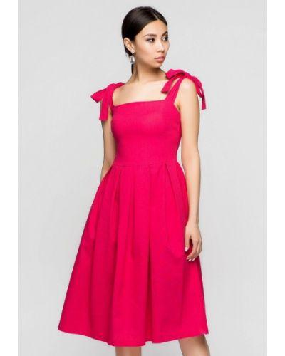 Платье миди весеннее розовое A-dress
