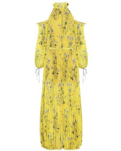 Платье макси с цветочным принтом с открытыми плечами с длинными рукавами Self-portrait