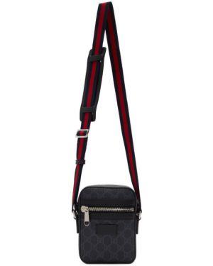 Парусиновая серебряная сумка мессенджер Gucci
