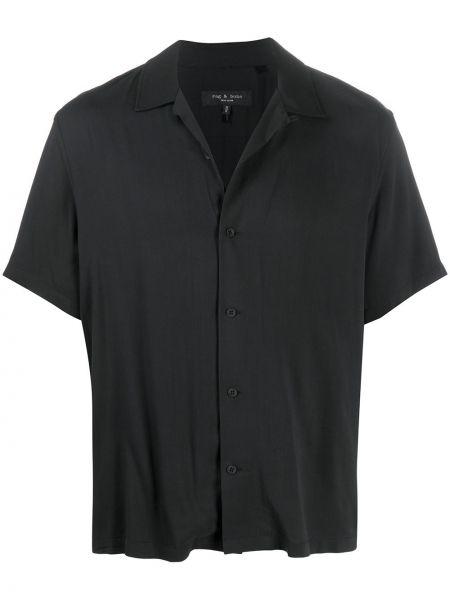 Czarny koszula krótkie z krótkim rękawem z kołnierzem krótkie rękawy z wiskozy Rag & Bone